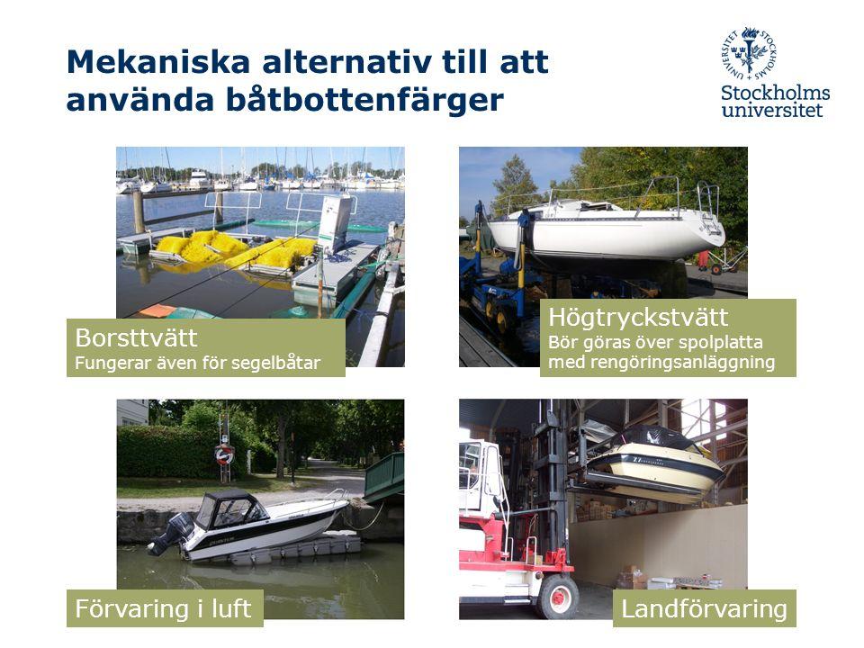 Mekaniska alternativ till att använda båtbottenfärger Borsttvätt Fungerar även för segelbåtar Förvaring i luft Landförvaring Högtryckstvätt Bör göras över spolplatta med rengöringsanläggning