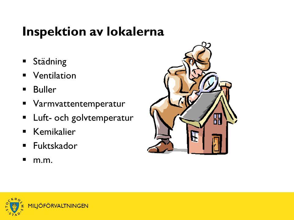 Inspektion av lokalerna  Städning  Ventilation  Buller  Varmvattentemperatur  Luft- och golvtemperatur  Kemikalier  Fuktskador  m.m.