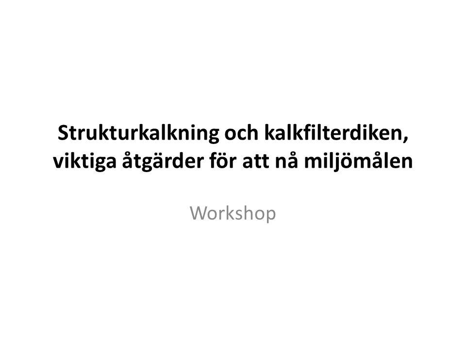 Strukturkalkning och kalkfilterdiken, viktiga åtgärder för att nå miljömålen Workshop