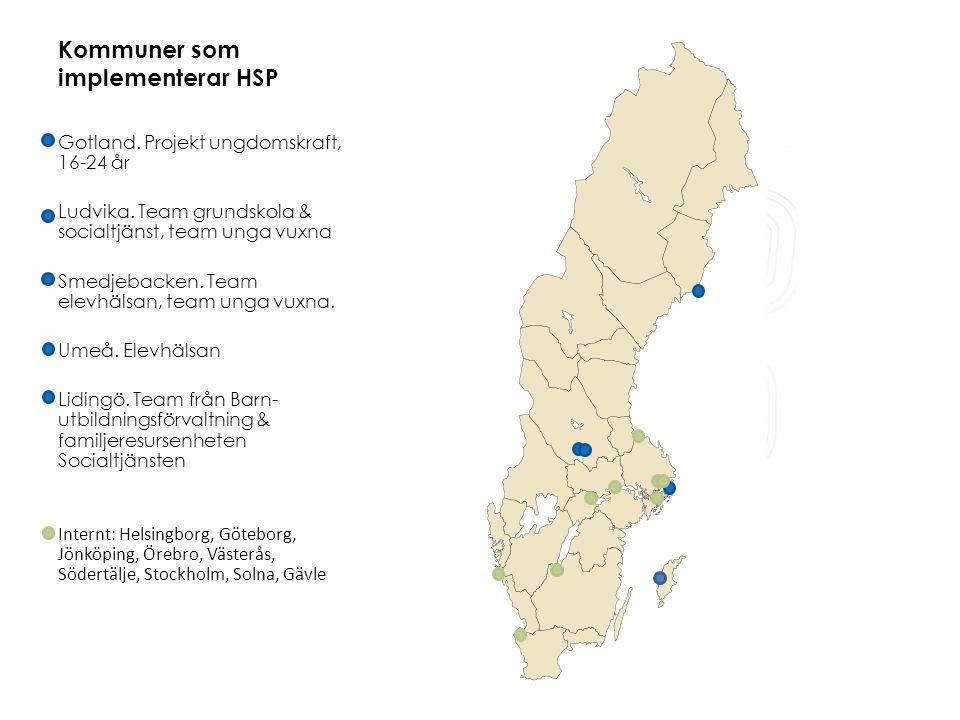 Kommuner som implementerar HSP Gotland. Projekt ungdomskraft, 16-24 år Ludvika.