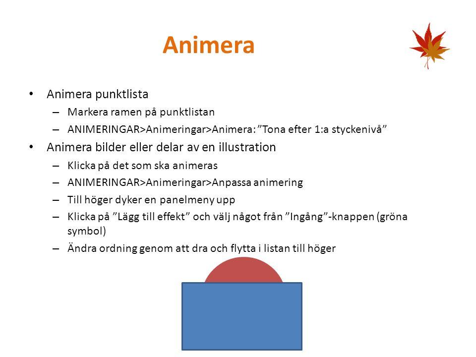 SmartArt INFOGA>Illustrationer>SmartArt Välj en variant, t.ex. Hierarki>Organisationsschema Klicka i rutorna för att skriva in text Lägg till fler rut
