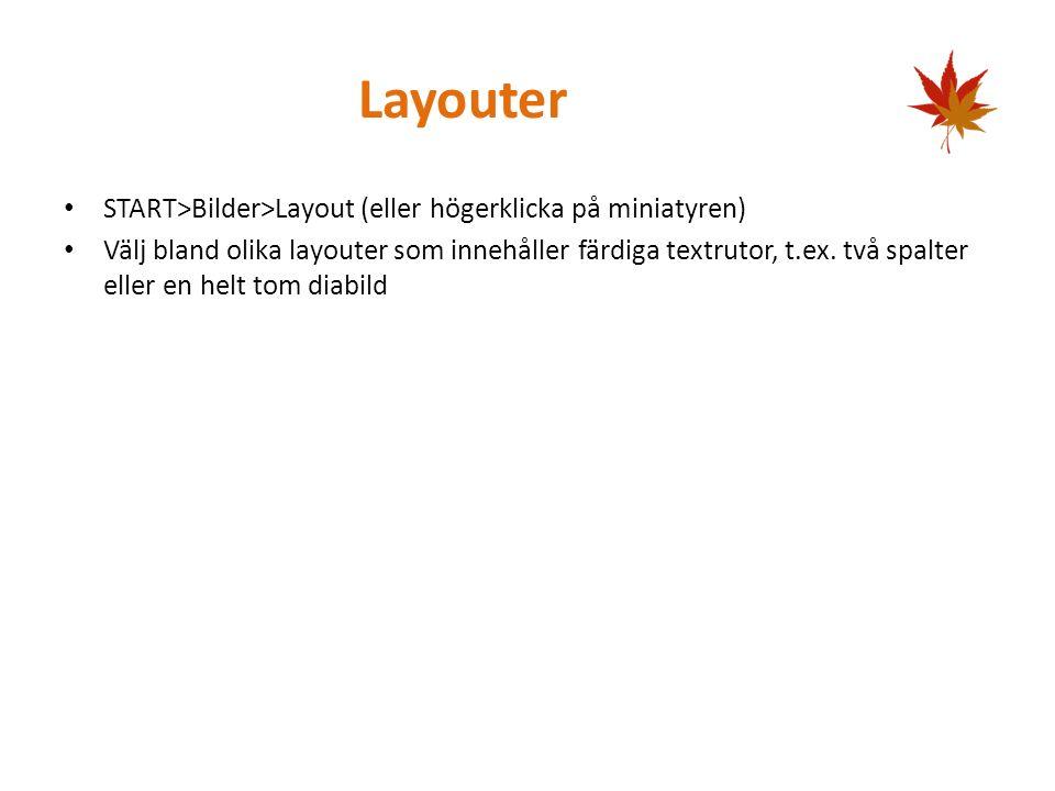 Skapa diabild START>Bilder>Ikonen Ny bild, skapar en diabild med samma layout som föregående, textknappen Ny bild väljer egen layout Kortkommando CTRL