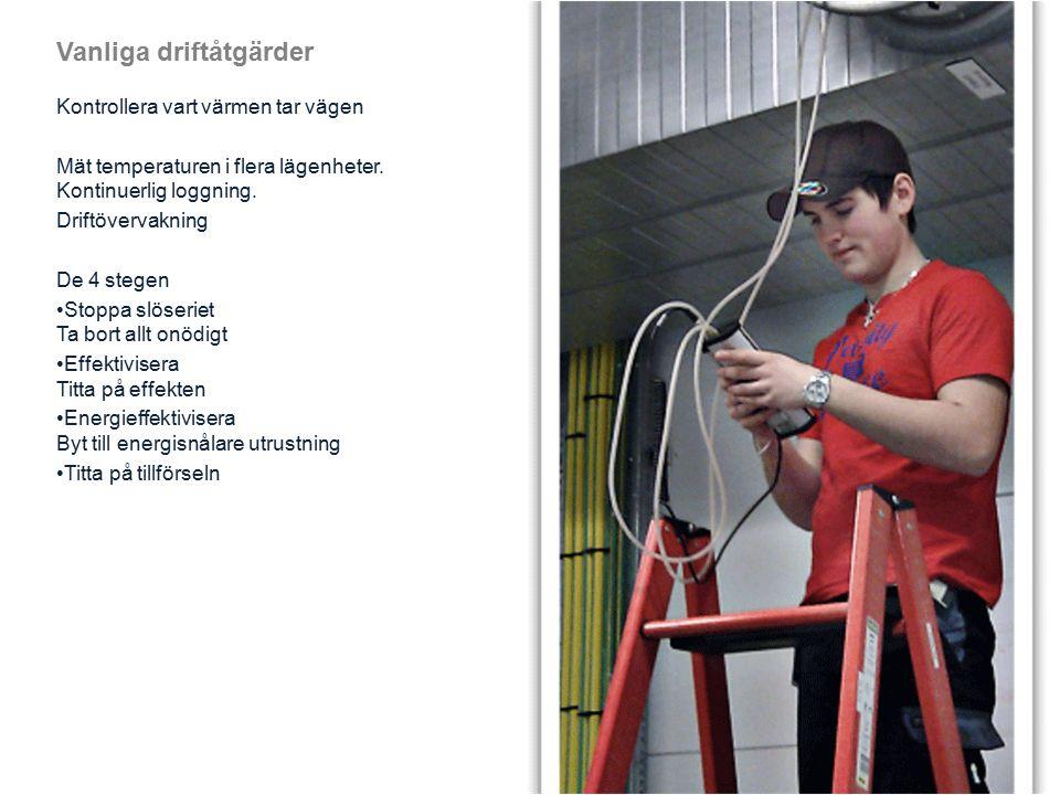 Vanliga driftåtgärder Kontrollera vart värmen tar vägen Mät temperaturen i flera lägenheter.