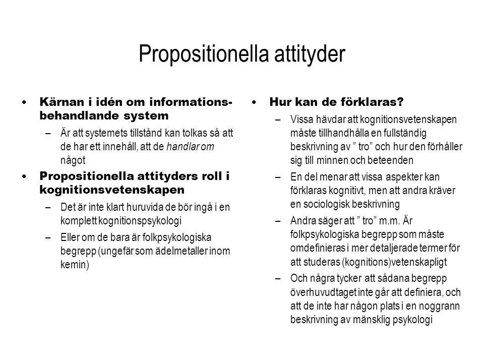 Propositionella attityder Kärnan i idén om informations- behandlande system –Är att systemets tillstånd kan tolkas så att de har ett innehåll, att de