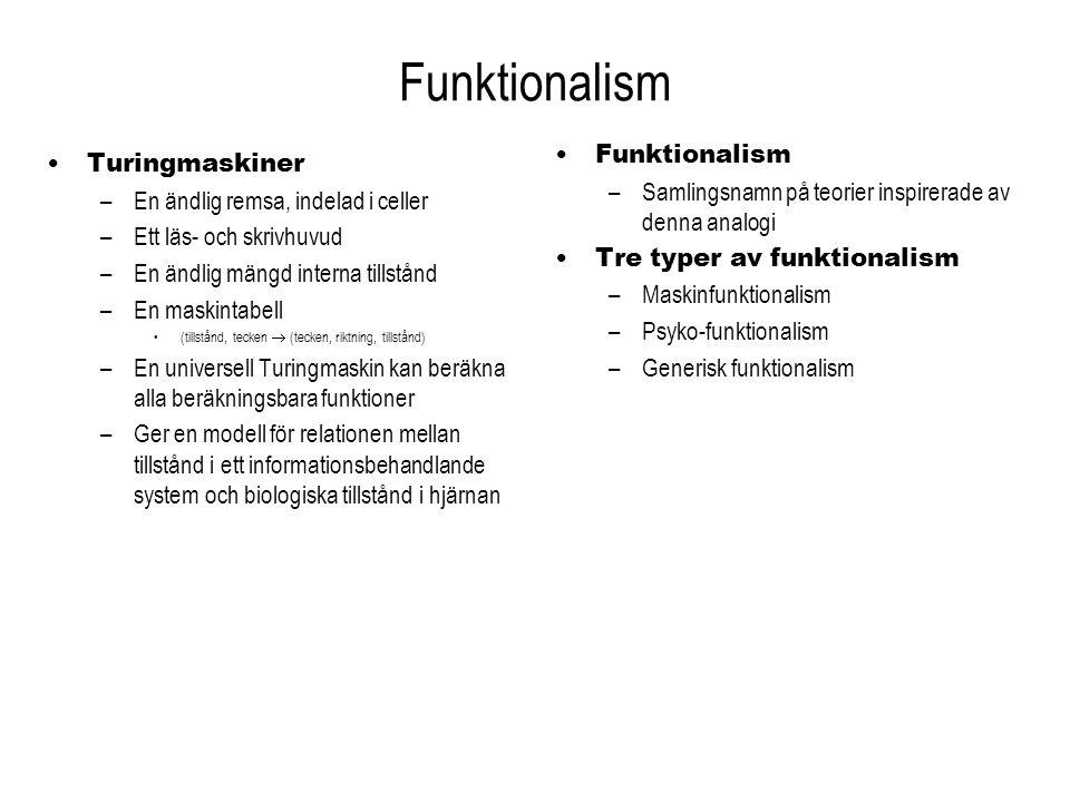 Maskinfunktionalism Turingmaskinen är både… –Ett fysisk system, och –En abstrakt beräkningsmekanism Relationen kropp-själ är oproblematisk –Varje fysiskt tillstånd… –Är också ett visst maskintillstånd… –Och motsvarar något beräkningstillstånd Detsamma gäller människor –Turingmaskinen kan representera alla informationsbehandlande system som människor förkroppsligar –Den är ett ändligt fysiskt system (som vi) –Vi är alla funktionellt ekvivalenta med någon Turingmaskin Maskintillstånd och psykologiska tillstånd – Ett visst maskintillstånd är också ett visst funktionellt tolkat fysiskt tillstånd – På samma sätt motsvarar ett visst psykologiskt tillstånd ett visst funktionellt tolkat fysiskt tillstånd Det fysiska är inte det viktiga – En Turingmaskin kan byggas i vilket material som helst Metall, plast, kisel, nervceller… – Mänskliga neurologiska tillstånd kan betraktas som maskintillstånd...