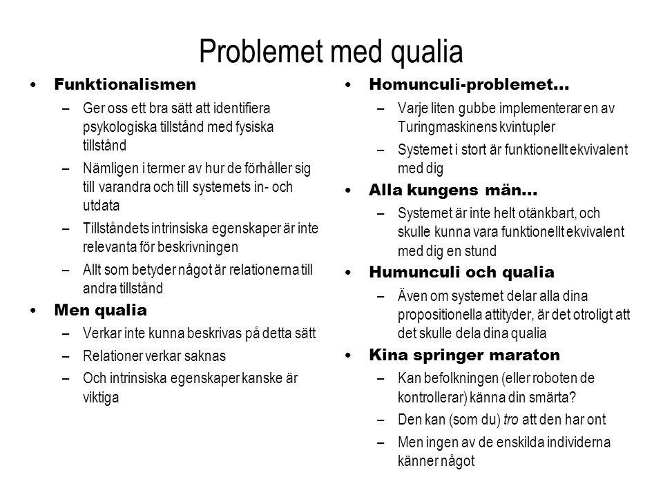 Problemet med qualia Funktionalismen –Ger oss ett bra sätt att identifiera psykologiska tillstånd med fysiska tillstånd –Nämligen i termer av hur de f