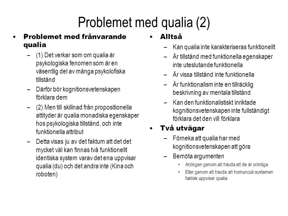Problemet med qualia (2) Problemet med frånvarande qualia –(1) Det verkar som om qualia är psykologiska fenomen som är en väsentlig del av många psyko