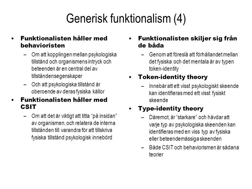 Generisk funktionalism (4) Funktionalisten håller med behavioristen –Om att kopplingen mellan psykologiska tillstånd och organismens intryck och betee