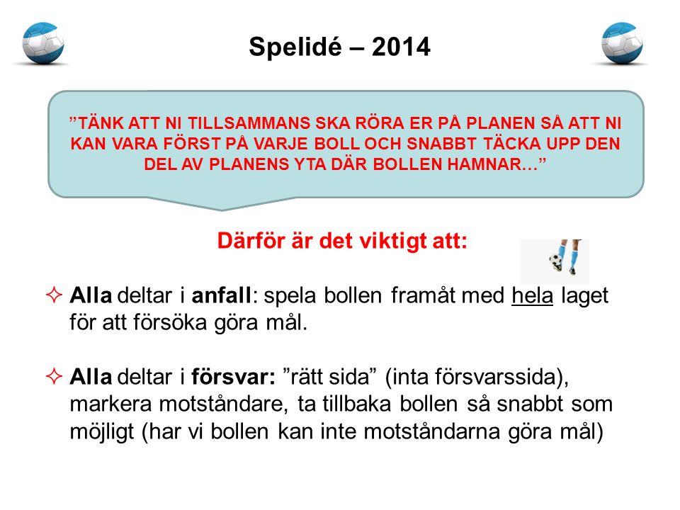 Spelidé – 2014 Därför är det viktigt att:  Alla deltar i anfall: spela bollen framåt med hela laget för att försöka göra mål.