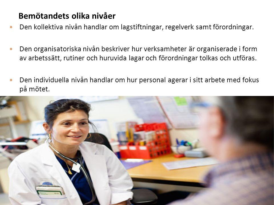 Bemötandets olika nivåer Den kollektiva nivån handlar om lagstiftningar, regelverk samt förordningar. Den organisatoriska nivån beskriver hur verksamh