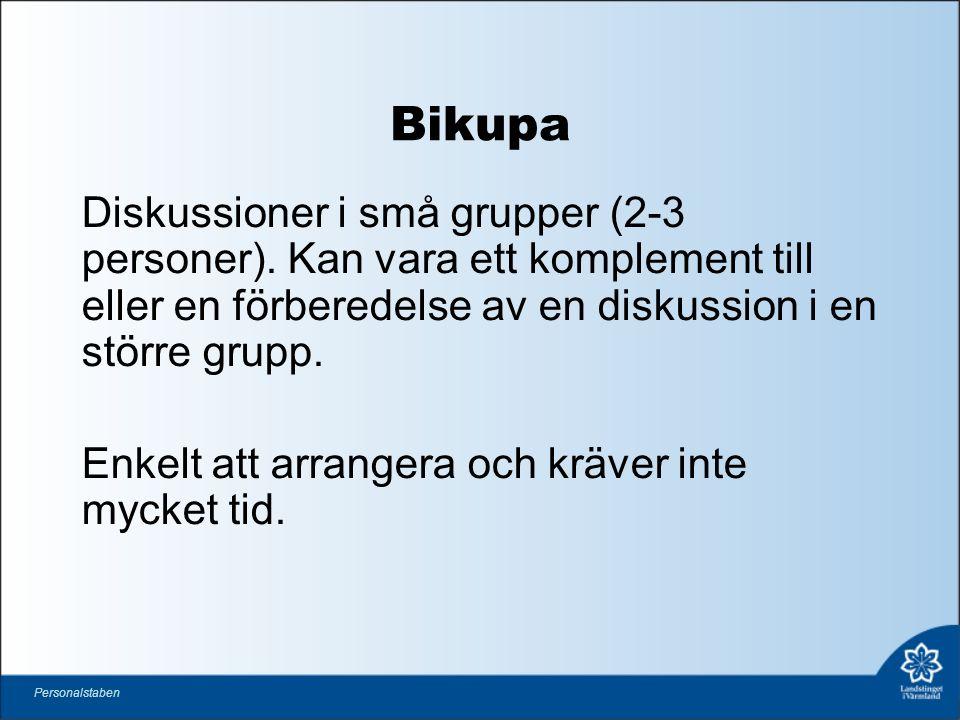 Bikupa Diskussioner i små grupper (2-3 personer).