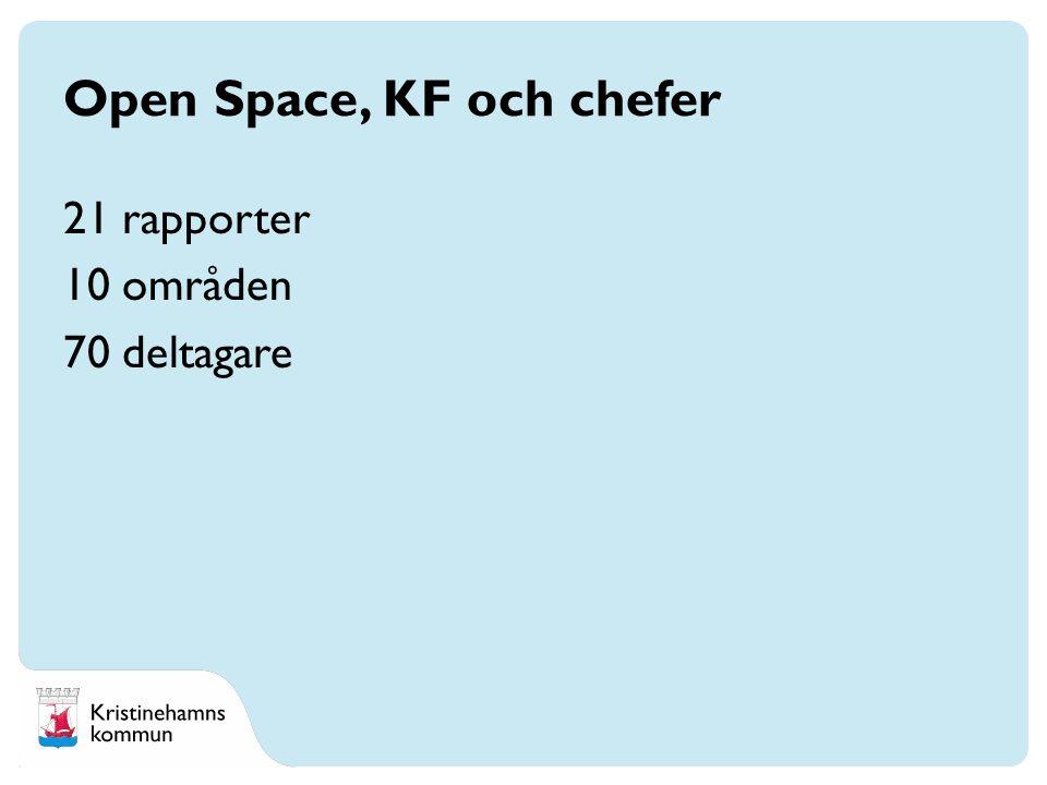 21 rapporter 10 områden 70 deltagare Open Space, KF och chefer