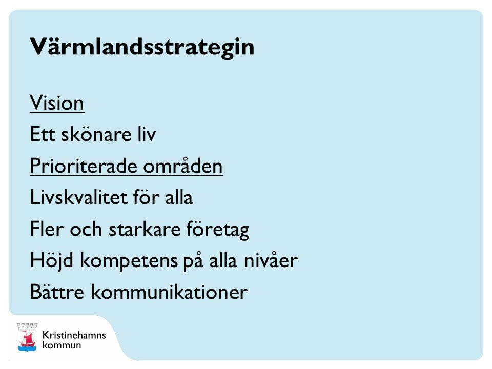 Vision Ett skönare liv Prioriterade områden Livskvalitet för alla Fler och starkare företag Höjd kompetens på alla nivåer Bättre kommunikationer Värmlandsstrategin
