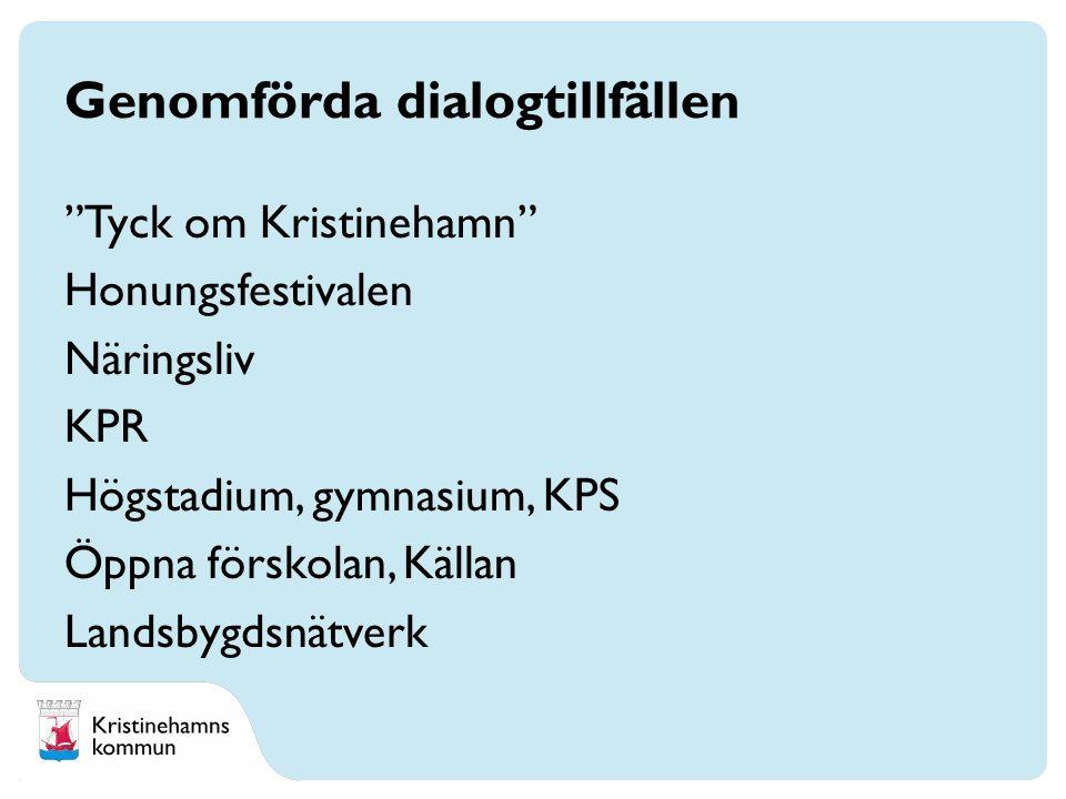Genomförda dialogtillfällen Tyck om Kristinehamn Honungsfestivalen Näringsliv KPR Högstadium, gymnasium, KPS Öppna förskolan, Källan Landsbygdsnätverk