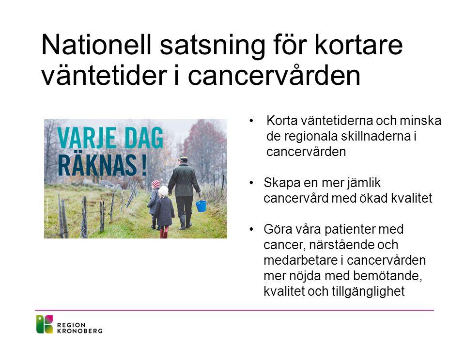 Nationell satsning för kortare väntetider i cancervården Korta väntetiderna och minska de regionala skillnaderna i cancervården Skapa en mer jämlik cancervård med ökad kvalitet Göra våra patienter med cancer, närstående och medarbetare i cancervården mer nöjda med bemötande, kvalitet och tillgänglighet