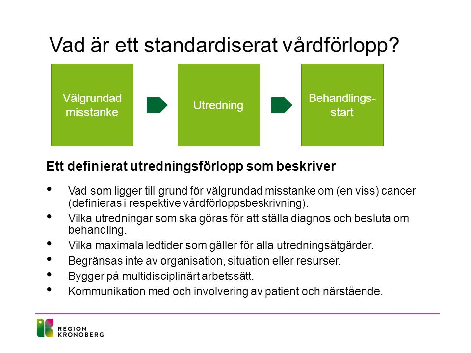 Välgrundad misstanke Utredning Behandlings- start Vad är ett standardiserat vårdförlopp.