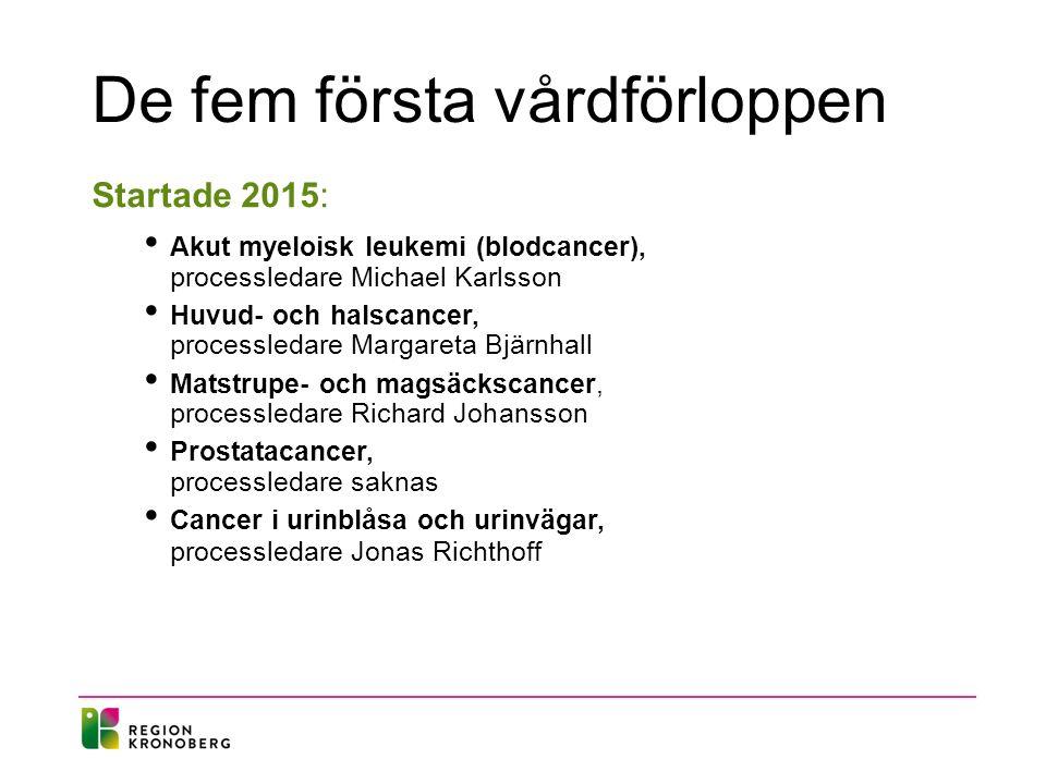 Vårdförlopp som startar 2016 Januari 2016: Lungcancer processledare Timea Lenart Cancer utan känd primärtumör (cup) processledare sakans Bröstcancer processledare Lena Myrskog Lymfom processledare Jonas Bjereus Tjock- och ändtarmscancer processledare Mikael Andersson...........................................................................................