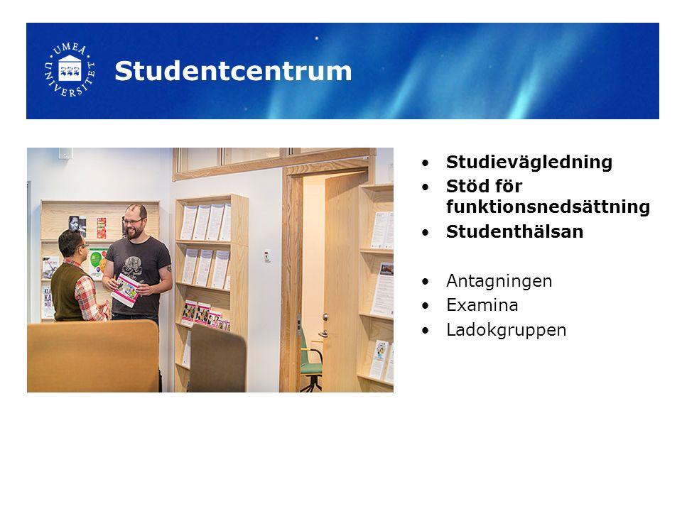 Studentcentrum Studievägledning Stöd för funktionsnedsättning Studenthälsan Antagningen Examina Ladokgruppen