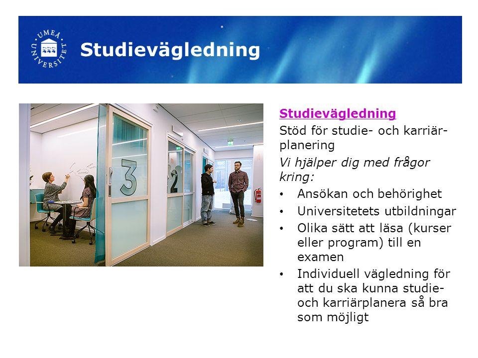 Studievägledning Stöd för studie- och karriär- planering Vi hjälper dig med frågor kring: Ansökan och behörighet Universitetets utbildningar Olika sät
