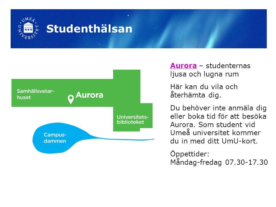 AuroraAurora – studenternas ljusa och lugna rum Här kan du vila och återhämta dig. Du behöver inte anmäla dig eller boka tid för att besöka Aurora. So