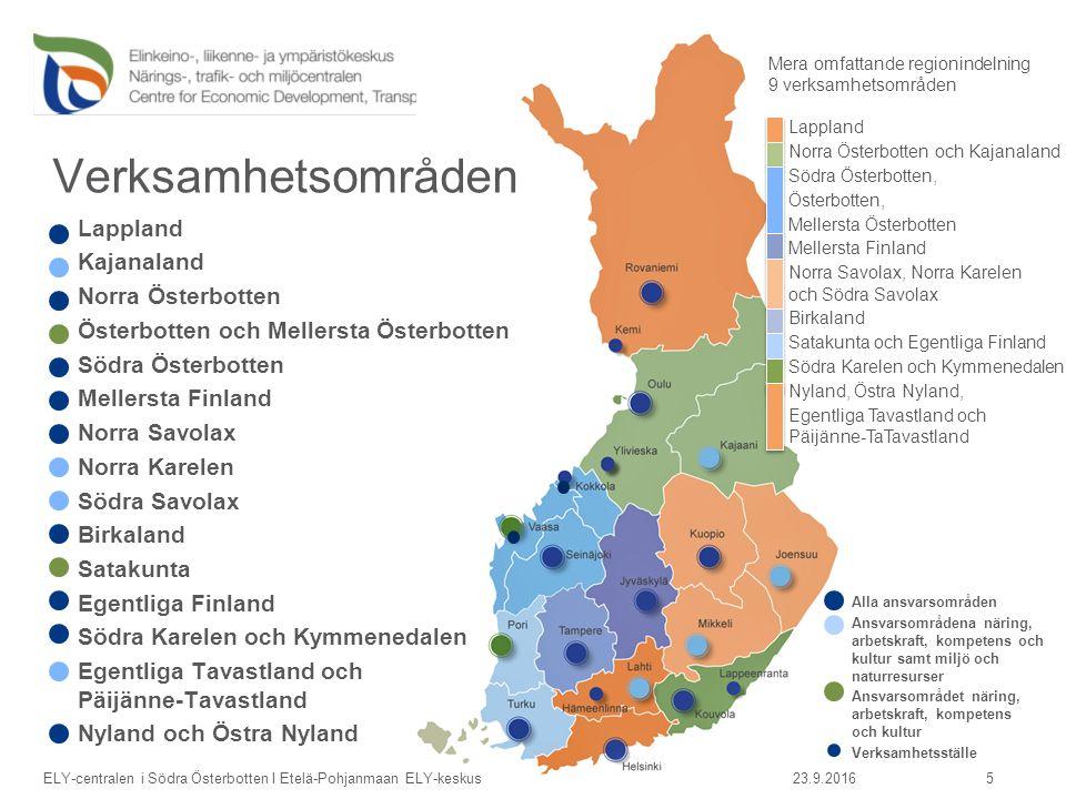 Ely-centralen i Södra Österbotten främjar  Företagande, verksamheten på arbetsmarknaderna, kompetens och kultur  Trafiksystemens funktion och trafiksäkerhet  God miljö, hållbart utnyttjande av naturen och naturresurserna  Invandrarfrågor, integrering och sysselsättning av invandrare i regionerna.