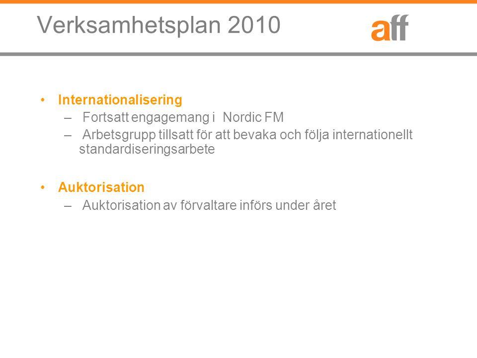 Verksamhetsplan 2010 Internationalisering – Fortsatt engagemang i Nordic FM – Arbetsgrupp tillsatt för att bevaka och följa internationellt standardiseringsarbete Auktorisation – Auktorisation av förvaltare införs under året