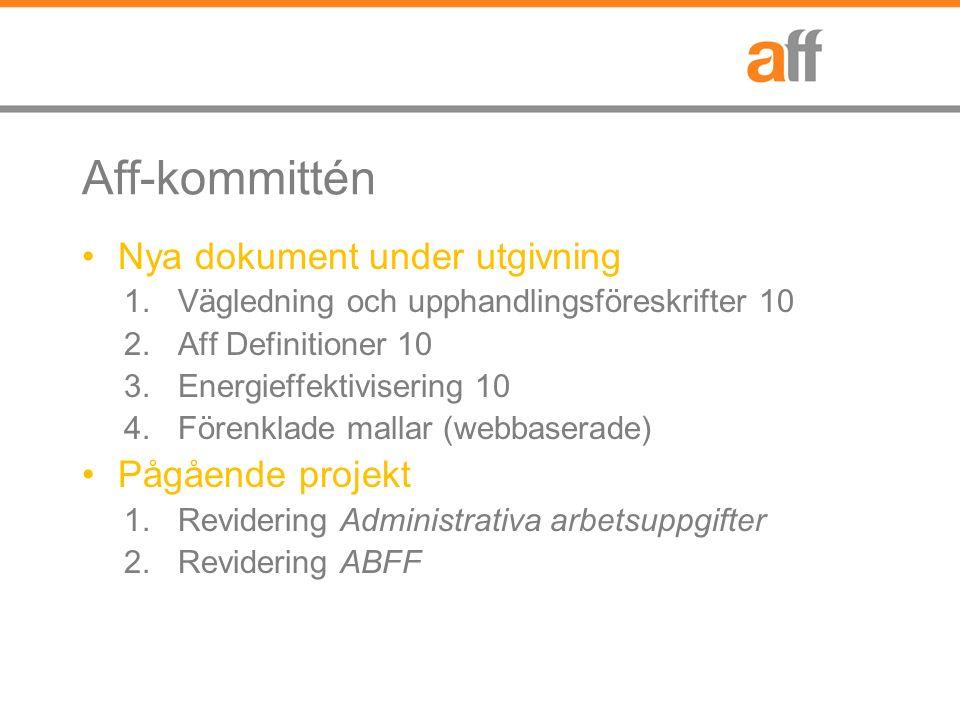 Aff-kommittén Nya dokument under utgivning 1.Vägledning och upphandlingsföreskrifter 10 2.Aff Definitioner 10 3.Energieffektivisering 10 4.Förenklade mallar (webbaserade) Pågående projekt 1.Revidering Administrativa arbetsuppgifter 2.Revidering ABFF