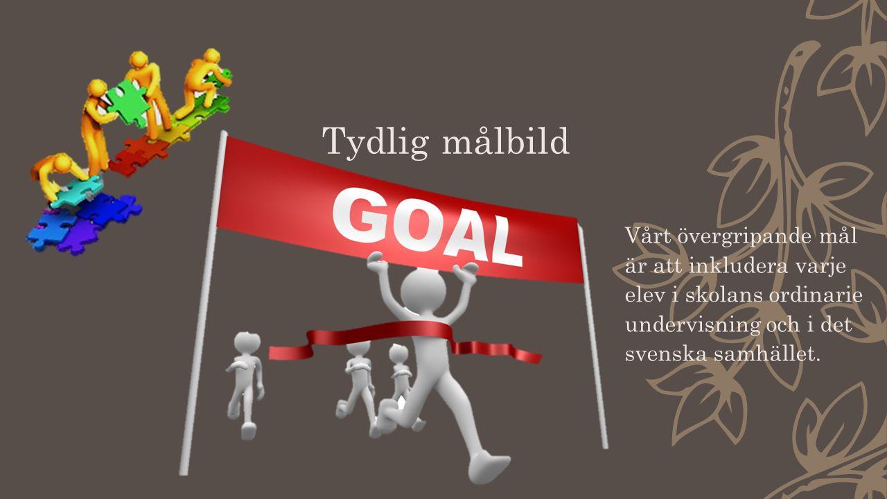 Tydlig målbild Vårt övergripande mål är att inkludera varje elev i skolans ordinarie undervisning och i det svenska samhället.