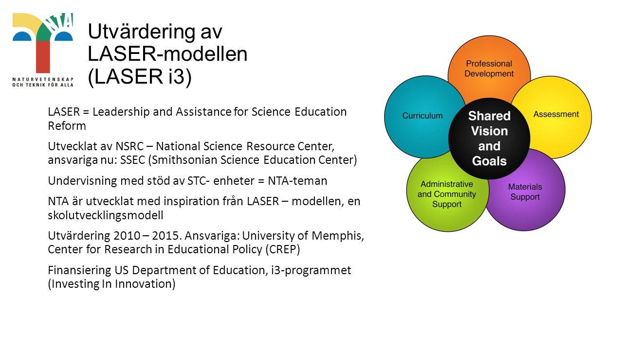 Utvärdering av LASER-modellen (LASER i3) LASER = Leadership and Assistance for Science Education Reform Utvecklat av NSRC – National Science Resource Center, ansvariga nu: SSEC (Smithsonian Science Education Center) Undervisning med stöd av STC- enheter = NTA-teman NTA är utvecklat med inspiration från LASER – modellen, en skolutvecklingsmodell Utvärdering 2010 – 2015.