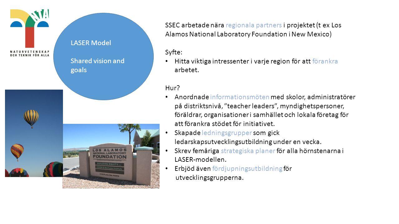 LASER Model Shared vision and goals SSEC arbetade nära regionala partners i projektet (t ex Los Alamos National Laboratory Foundation i New Mexico) Syfte: Hitta viktiga intressenter i varje region för att förankra arbetet.