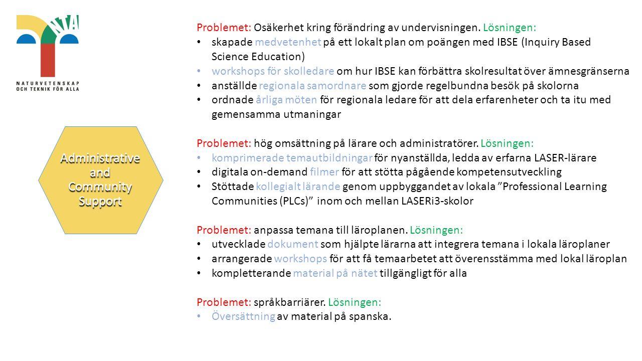 Administrative and Community Support Problemet: Osäkerhet kring förändring av undervisningen.