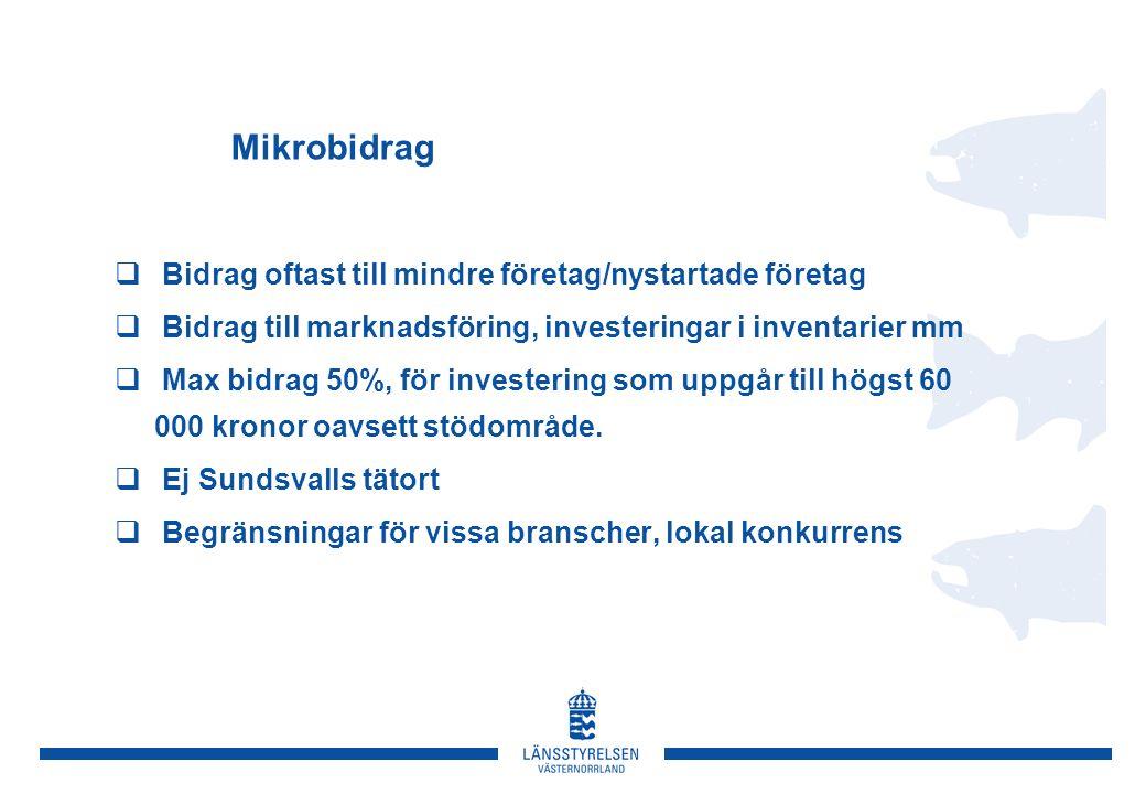 Mikrobidrag  Bidrag oftast till mindre företag/nystartade företag  Bidrag till marknadsföring, investeringar i inventarier mm  Max bidrag 50%, för investering som uppgår till högst 60 000 kronor oavsett stödområde.