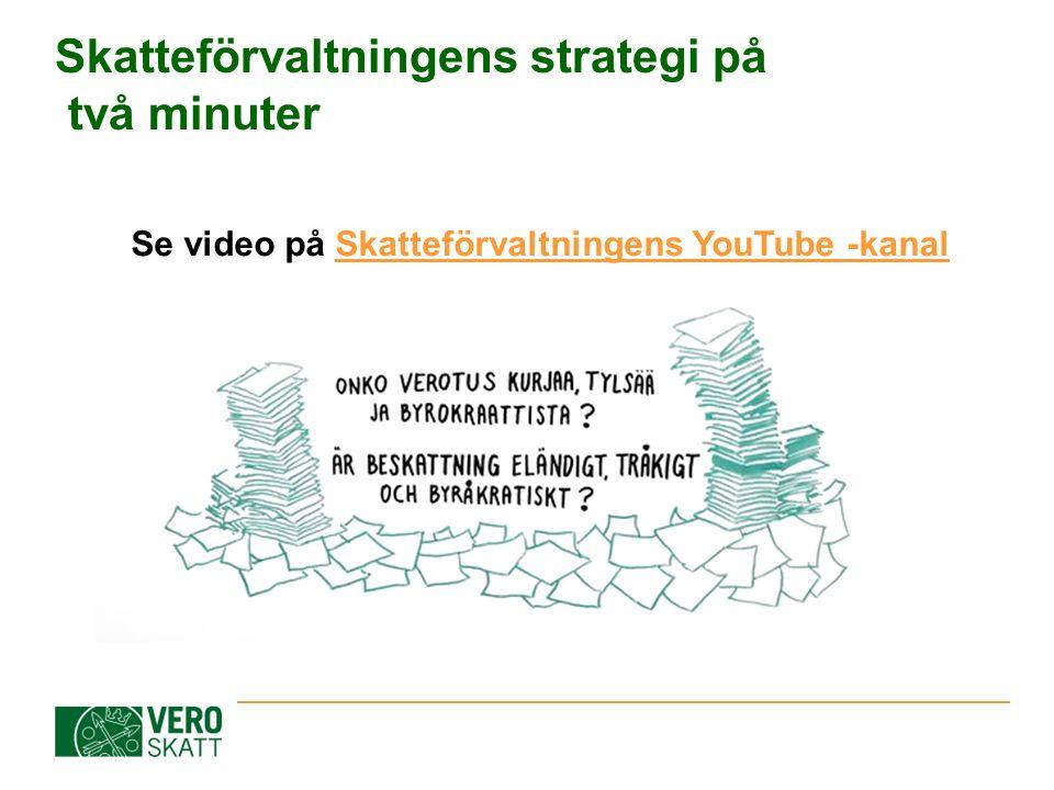Skatteförvaltningens strategi på två minuter Se video på Skatteförvaltningens YouTube -kanalSkatteförvaltningens YouTube -kanal