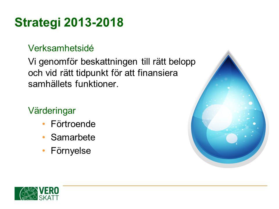 Strategi 2013-2018 Verksamhetsidé Vi genomför beskattningen till rätt belopp och vid rätt tidpunkt för att finansiera samhällets funktioner. Värdering