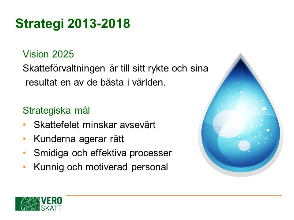 Strategi 2013-2018 Vision 2025 Skatteförvaltningen är till sitt rykte och sina resultat en av de bästa i världen. Strategiska mål Skattefelet minskar