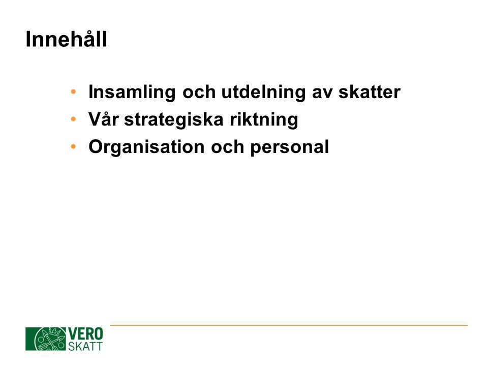 Innehåll Insamling och utdelning av skatter Vår strategiska riktning Organisation och personal