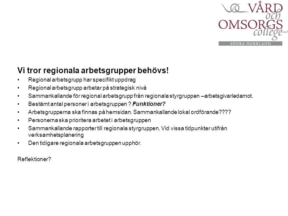 Vi tror regionala arbetsgrupper behövs.