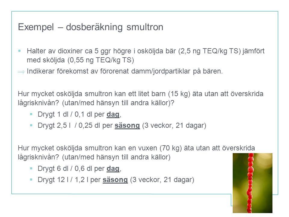 Exempel – dosberäkning smultron  Halter av dioxiner ca 5 ggr högre i osköljda bär (2,5 ng TEQ/kg TS) jämfört med sköljda (0,55 ng TEQ/kg TS)  Indike