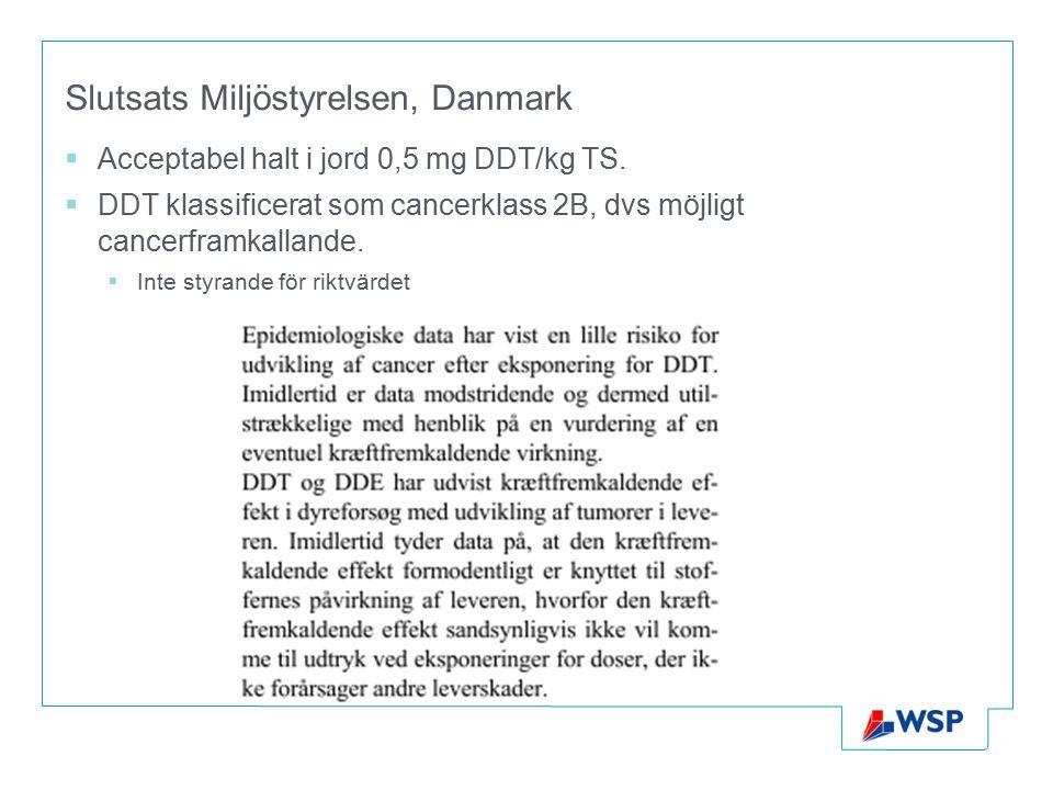Slutsats Miljöstyrelsen, Danmark  Acceptabel halt i jord 0,5 mg DDT/kg TS.  DDT klassificerat som cancerklass 2B, dvs möjligt cancerframkallande. 