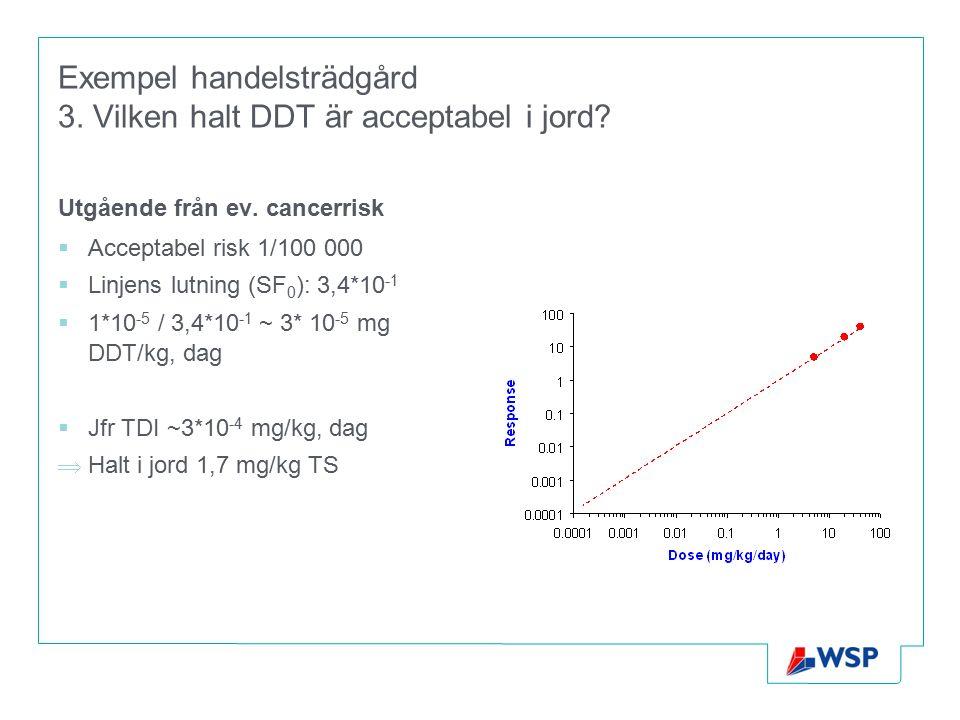 Exempel handelsträdgård 3. Vilken halt DDT är acceptabel i jord? Utgående från ev. cancerrisk  Acceptabel risk 1/100 000  Linjens lutning (SF 0 ): 3