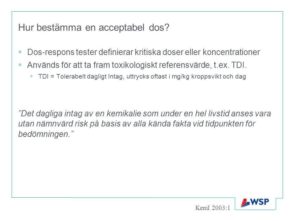 Hur bestämma en acceptabel dos?  Dos-respons tester definierar kritiska doser eller koncentrationer  Används för att ta fram toxikologiskt referensv
