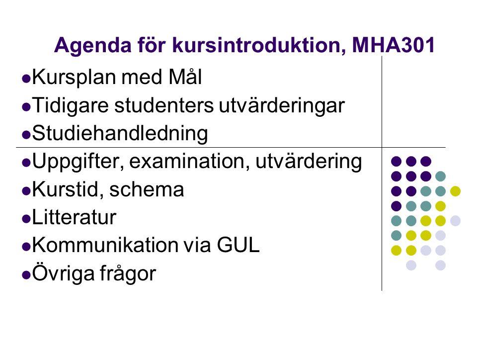 Agenda för kursintroduktion, MHA301 Kursplan med Mål Tidigare studenters utvärderingar Studiehandledning Uppgifter, examination, utvärdering Kurstid, schema Litteratur Kommunikation via GUL Övriga frågor