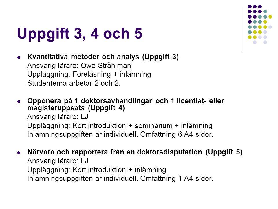 Uppgift 3, 4 och 5 Kvantitativa metoder och analys (Uppgift 3) Ansvarig lärare: Owe Stråhlman Uppläggning: Föreläsning + inlämning Studenterna arbetar 2 och 2.
