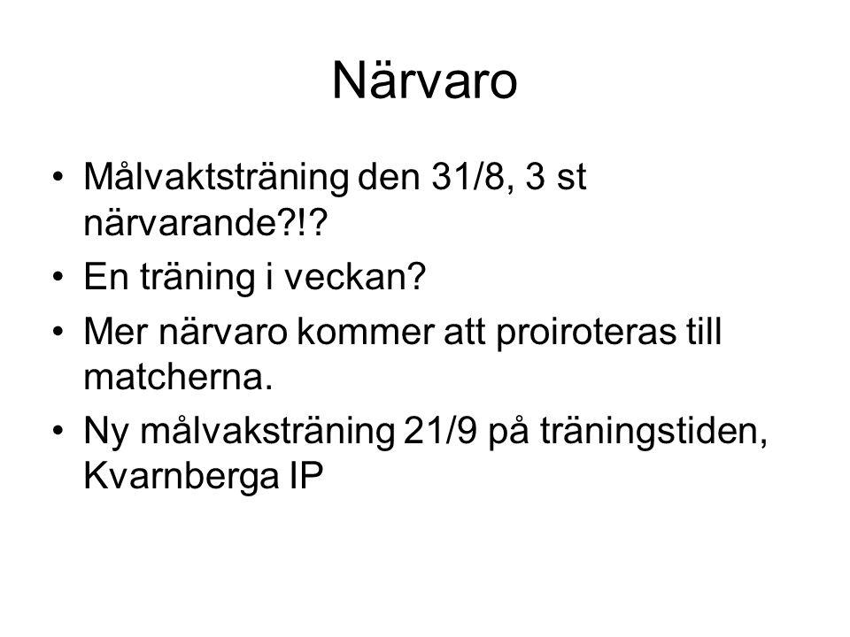 Närvaro Målvaktsträning den 31/8, 3 st närvarande !.