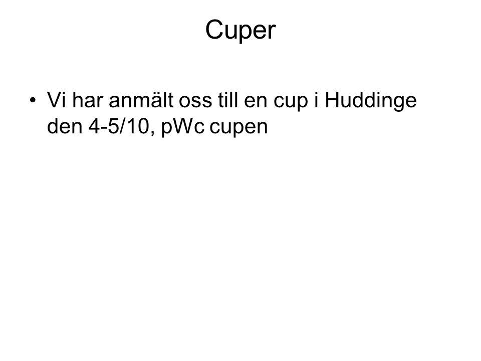 Cuper Vi har anmält oss till en cup i Huddinge den 4-5/10, pWc cupen