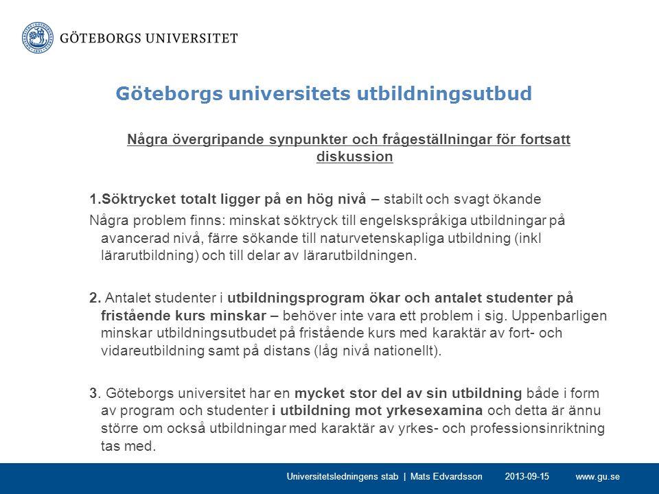 www.gu.se Göteborgs universitets utbildningsutbud 4.