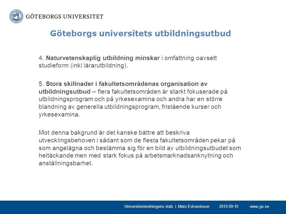 www.gu.se Göteborgs universitets utbildningsutbud Utvecklingsområden -Fler nätbaserade kurser (blended courses) oavsett studieform (fristående kurs, distanskurs, kurs i program, kurs på campus) – är i allt väsentligt en fråga om infrastruktur och pedagogiskt stöd i utveckling.