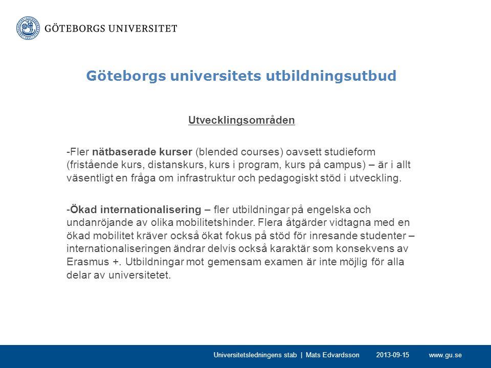 www.gu.se Göteborgs universitets utbildningsutbud -Utveckla utbildningsutbudet med tydlig karaktär av fort- och vidareutbildning oavsett studieform – diskussion om definitioner och kring eventuella utvecklingsinsatser.