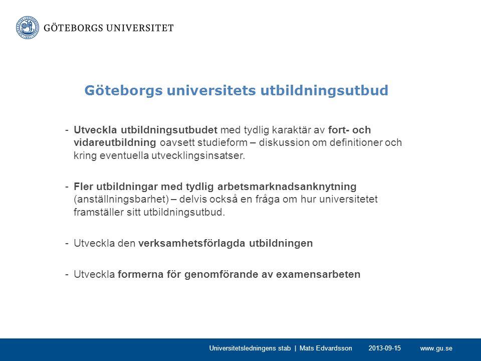 www.gu.se Göteborgs universitets utbildningsutbud -Tydliggöra och integrera inslag av hållbar utveckling i utbildningarna – delvis också en fråga kring hur universitetet vill framställa sin utbildning.