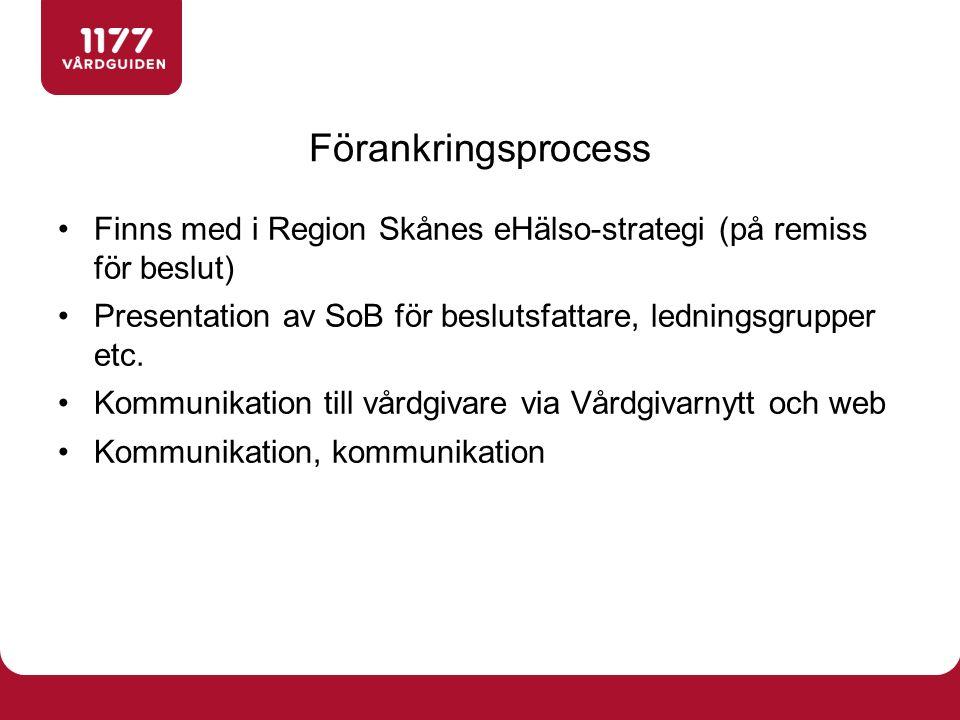 Finns med i Region Skånes eHälso-strategi (på remiss för beslut) Presentation av SoB för beslutsfattare, ledningsgrupper etc. Kommunikation till vårdg